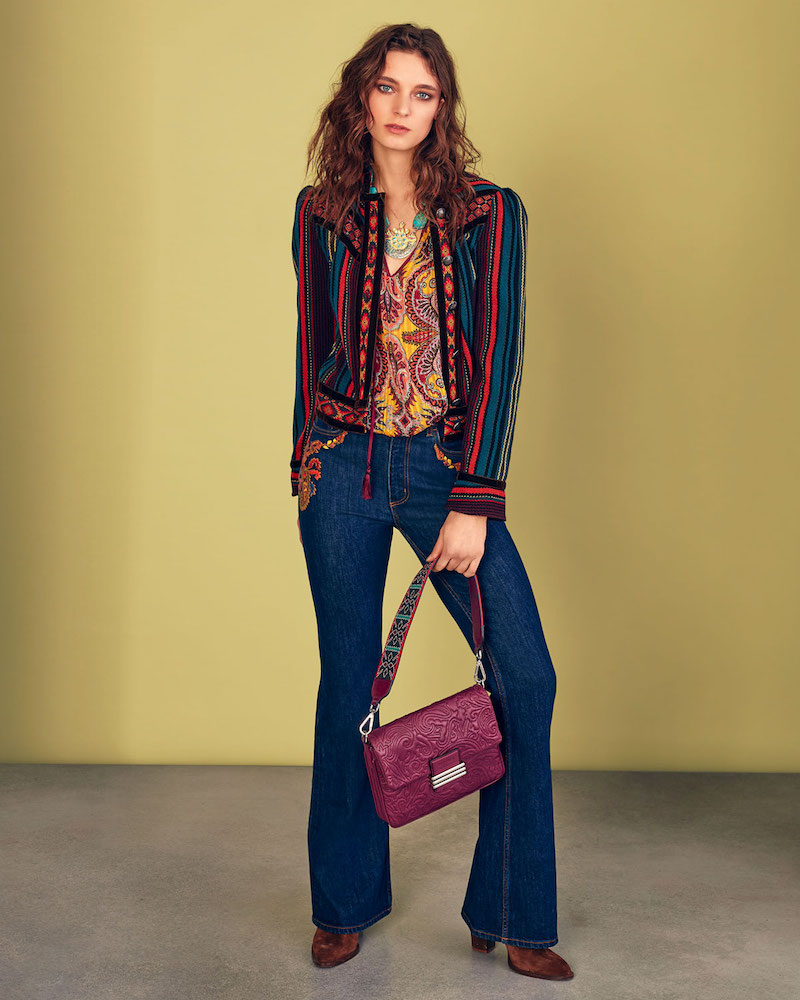Etro Striped Cropped Jacket with Velvet Piping