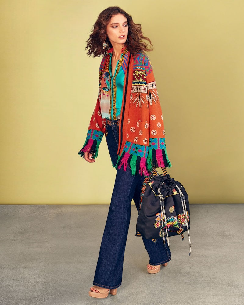 Etro Western-Intarsia Belted Wool-Blend Sweater with Fringe