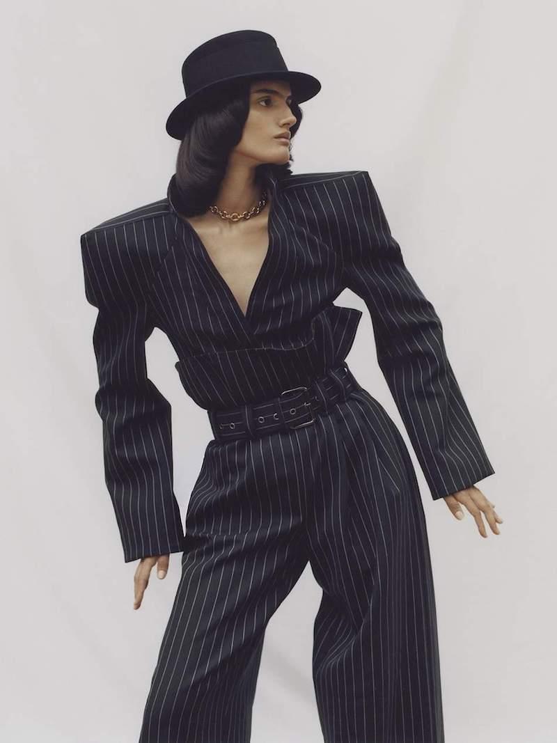 Gareth Pugh Belted Pinstriped Wool-Blend Wide-Leg Pants