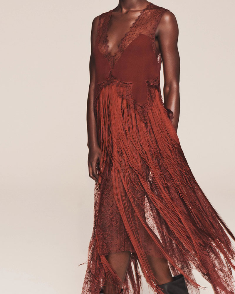 Givenchy Silk & Lace Fringed Slipdress