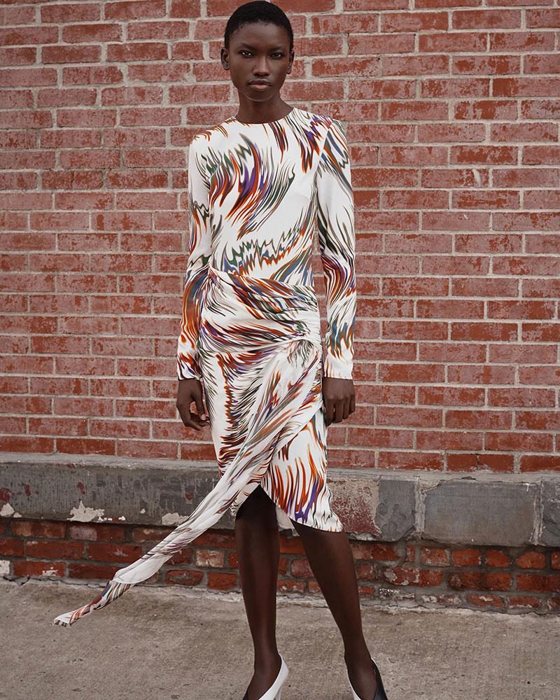 Givenchy Wave-Print Gathered Silk Dress
