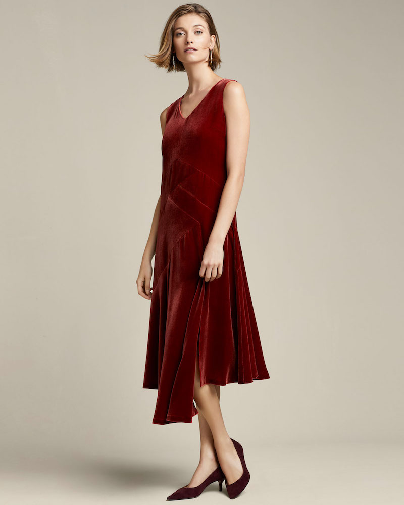 Lafayette 148 New York Ashlena V-Neck Sleeveless Asymmetric Draped Velvet Midi Dress
