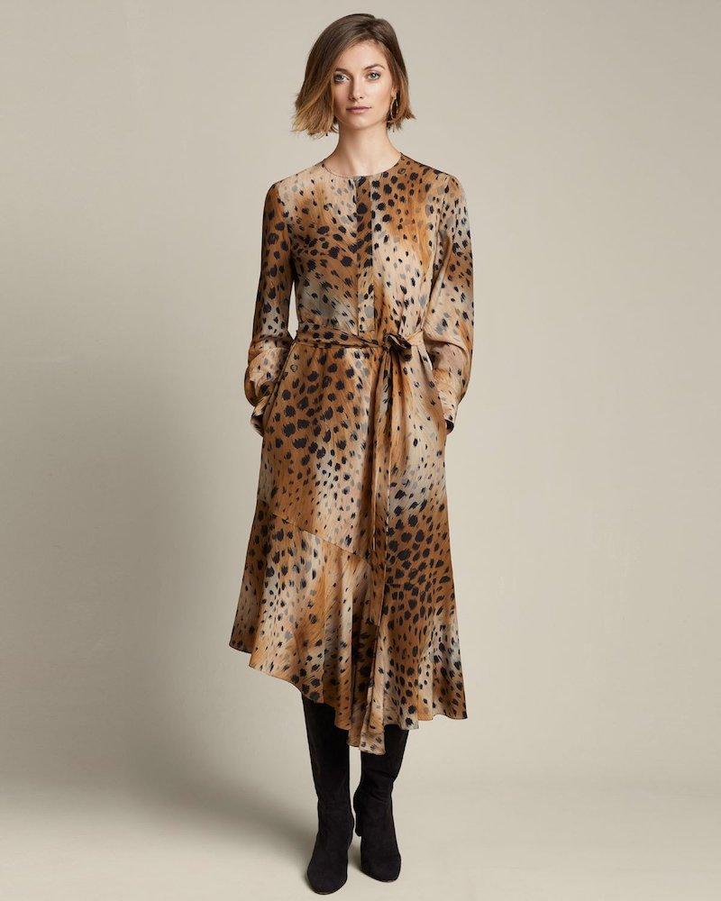 Lafayette 148 New York Delancy Agave Leopard-Print Silk Dress