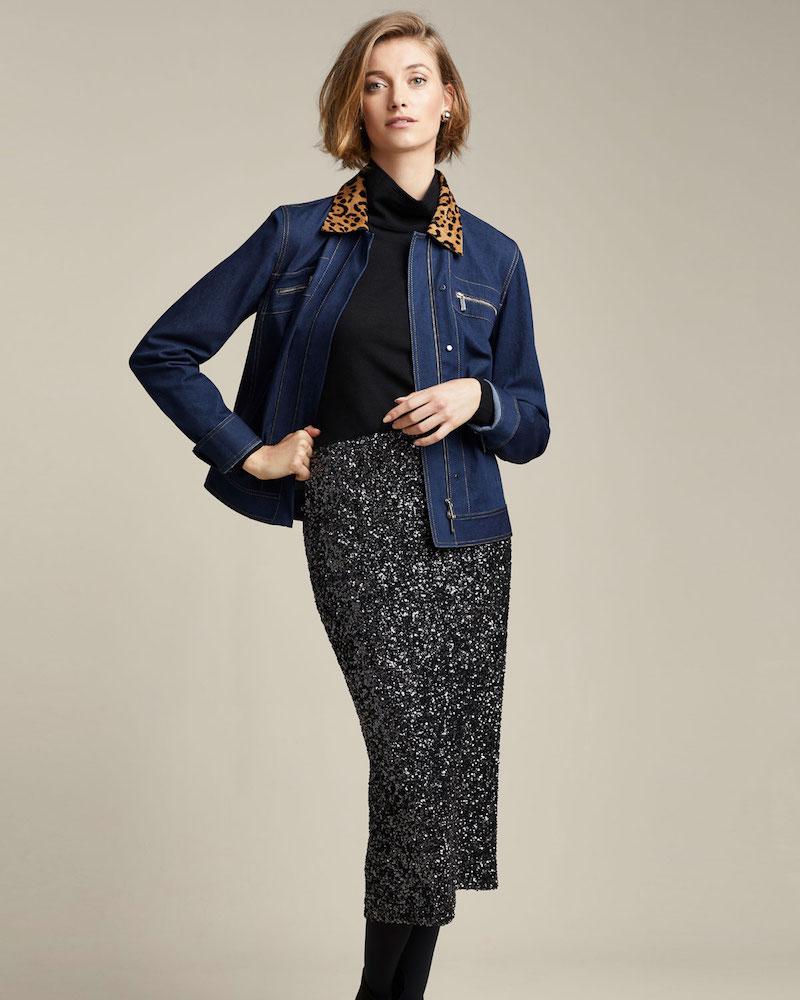 Lafayette 148 New York Kesha Denim Jacket with Leopard Collar
