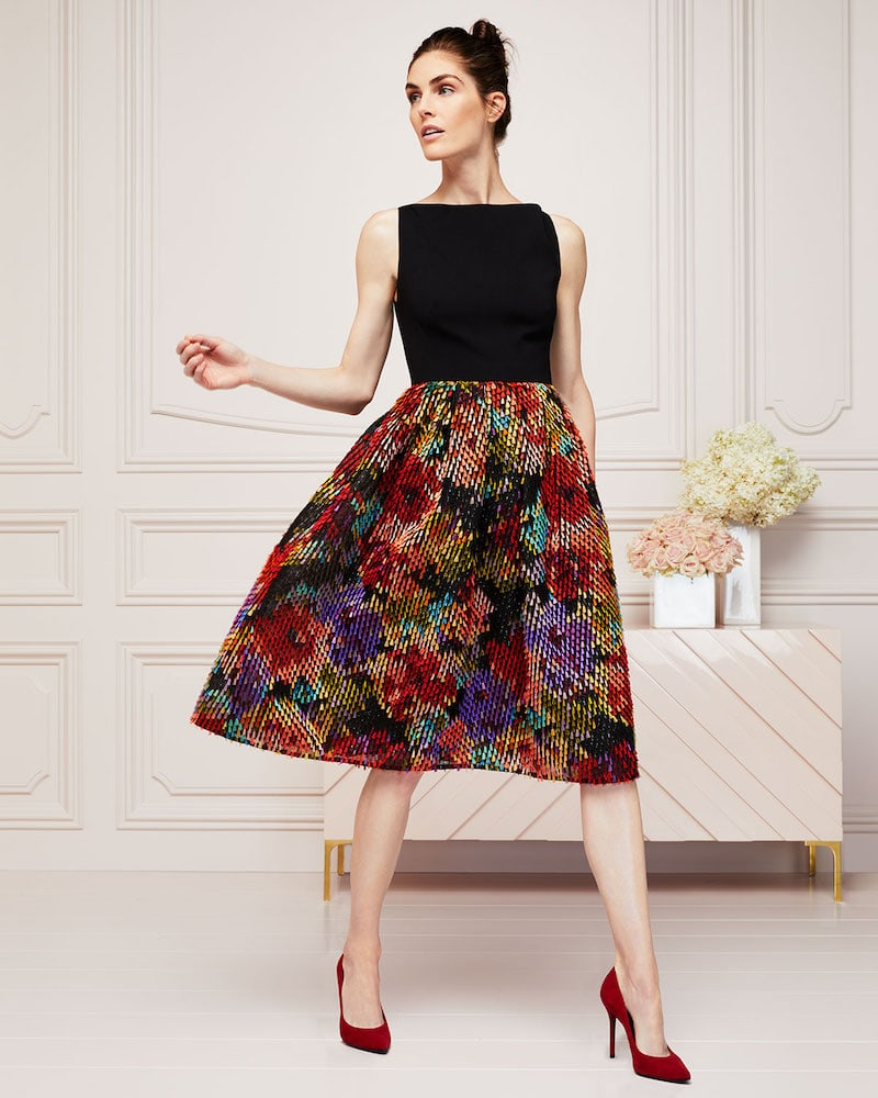 Lela Rose Boat-Neck Sleeveless Fit-and-Flare Cocktail Dress with Multicolor Skirt