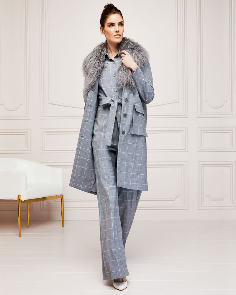 Lela Rose Button-Front Check Wool Coat with Mongolian Fur Collar
