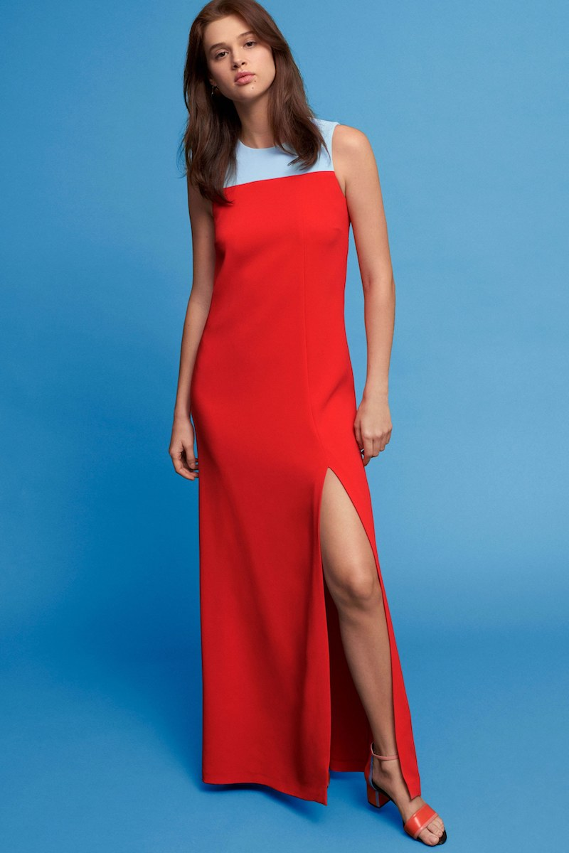 Lisa Perry Colorblocked Crepe Gown