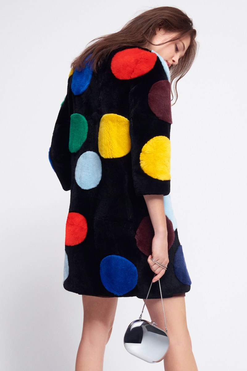 Lisa Perry Polka Dot Rabbit Fur Coat