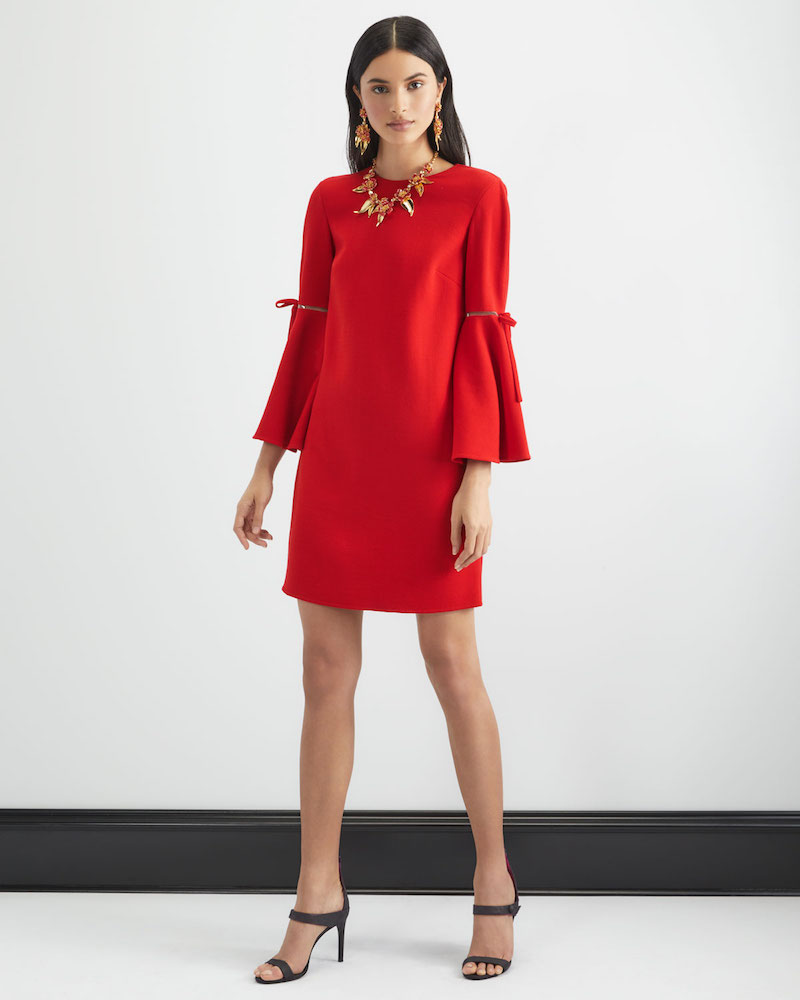 Oscar de la Renta Jewel-Neck Vented Bow-Cuffs A-Line Crepe Wool-Silk Mini Day Dress 1