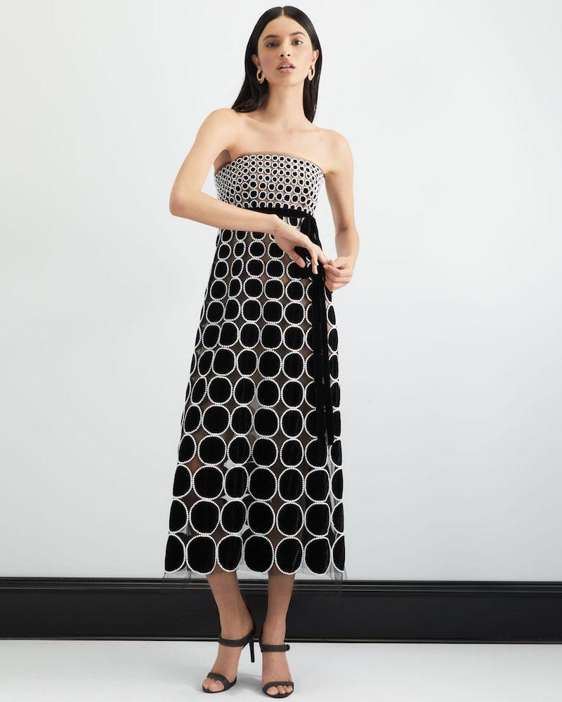 Oscar de la Renta Strapless Empire-Waist Velvet Circle Pearl-Embroidered Cocktail Dress