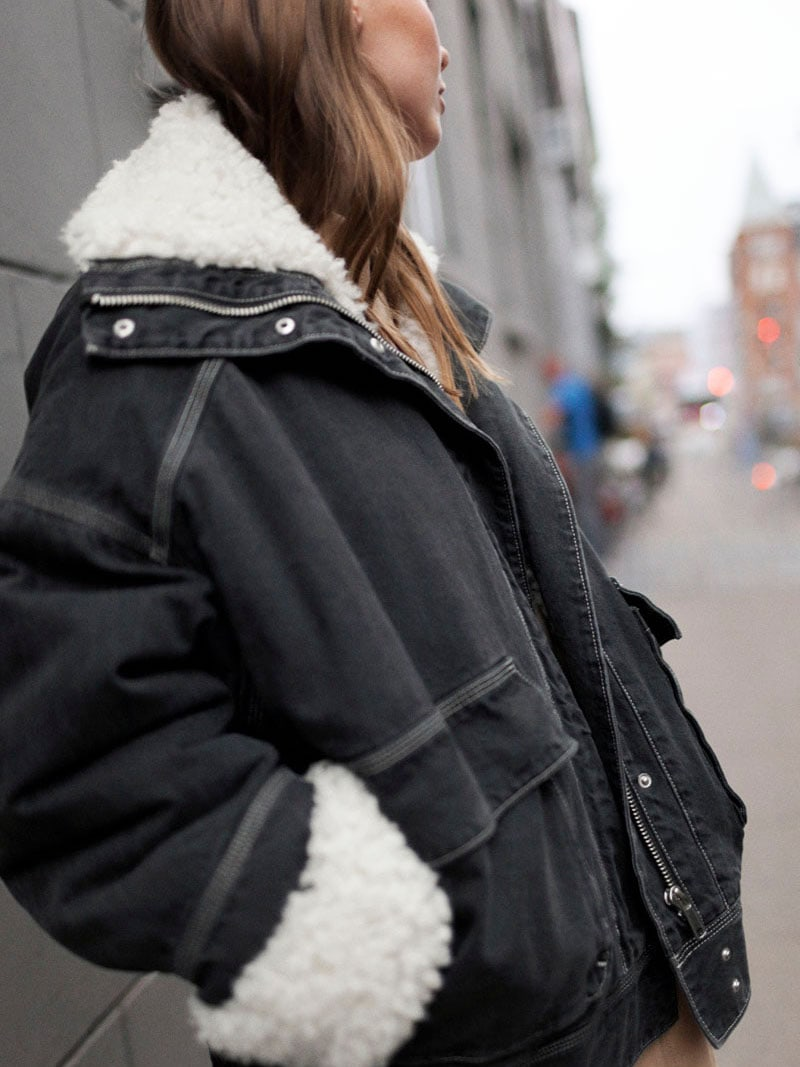 & Other Stories Denim Faux Shearling Jacket
