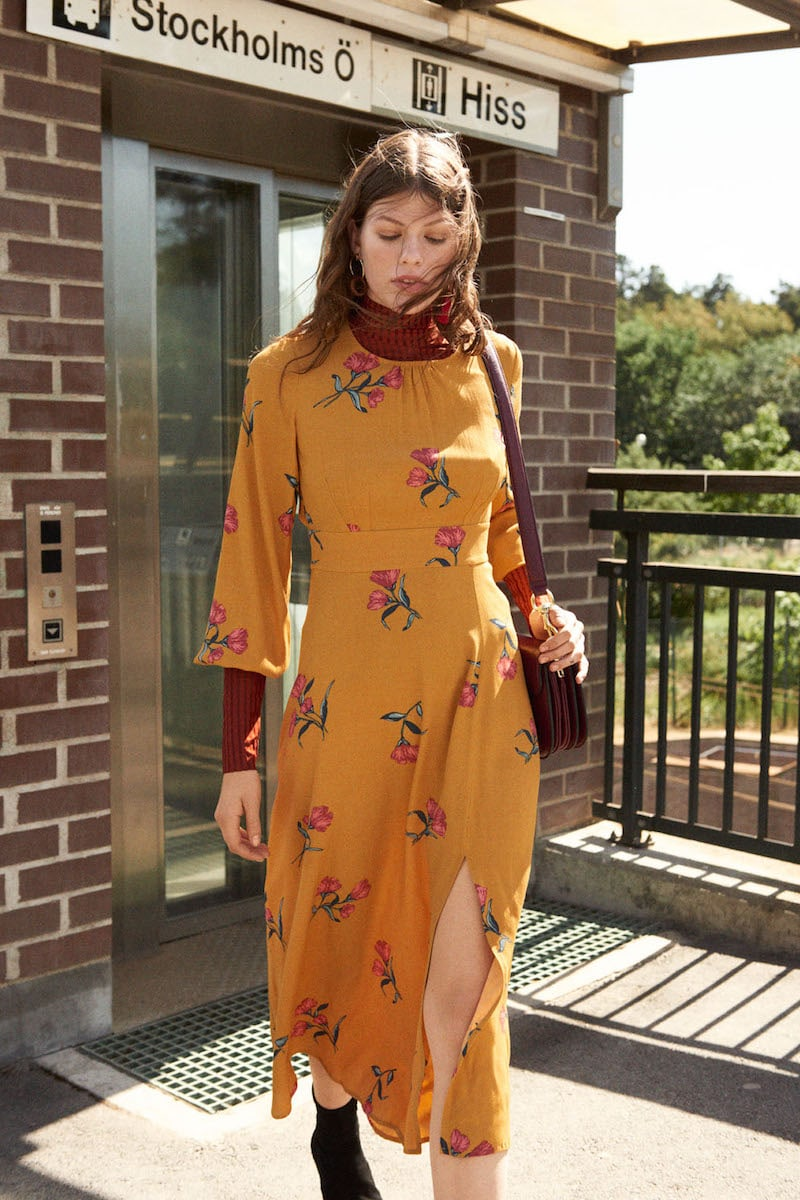& Other Stories Printed Long Sleeve Midi Dress