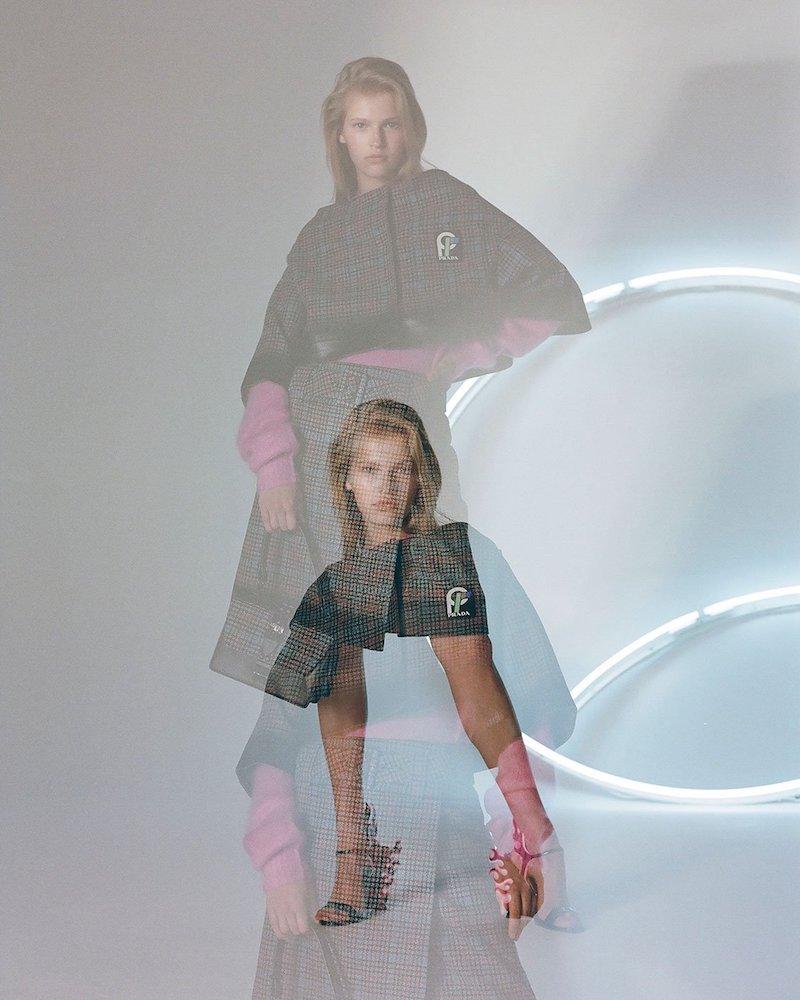 Prada Cropped Houndstooth-Check Wool-Blend Jacket
