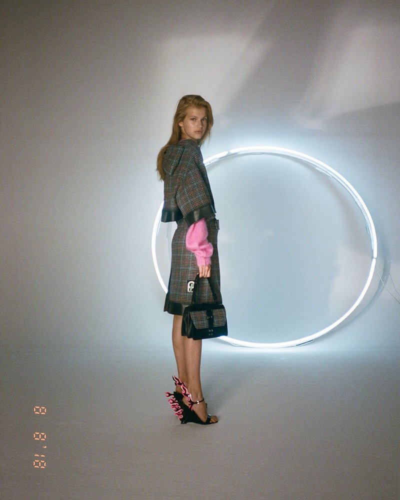 Prada Logo-Patch Houndstooth Wool-Blend Skirt