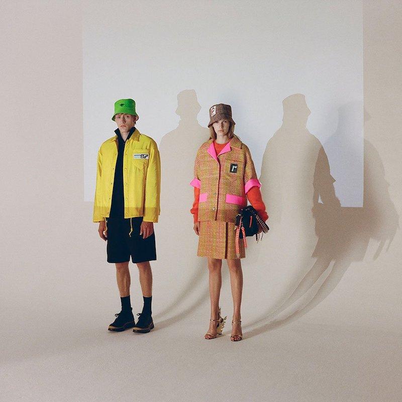 Prada Logo-Patch bouclé Virgin-Wool Skirt