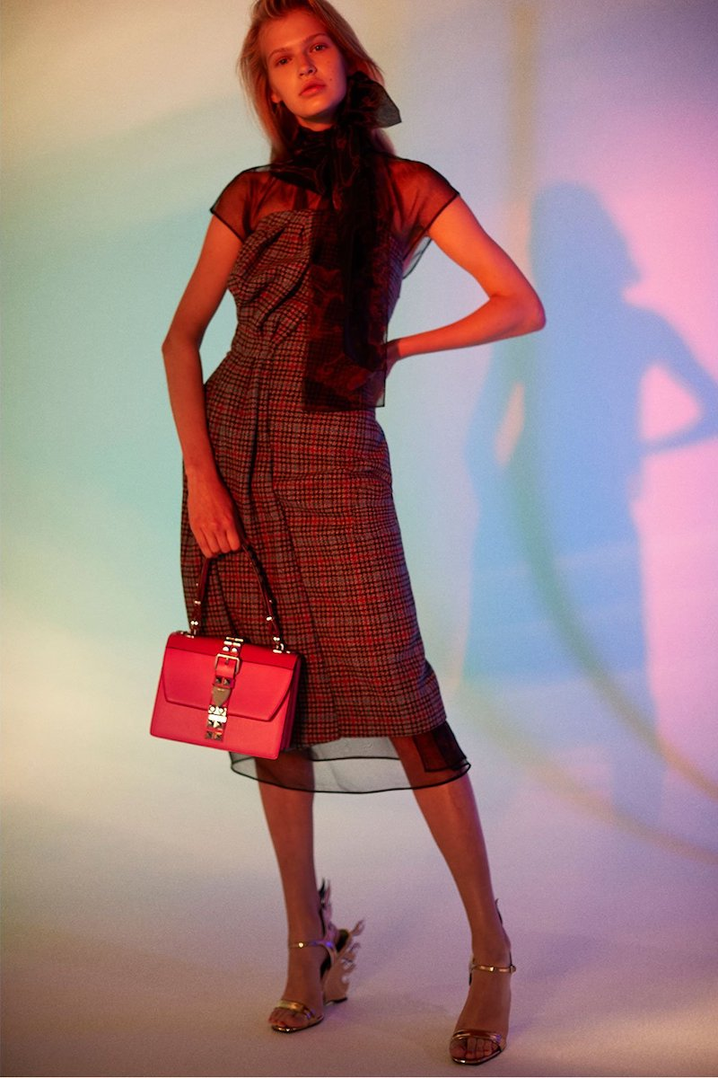 Prada Strapless Houndstooth Wool-Blend Dress