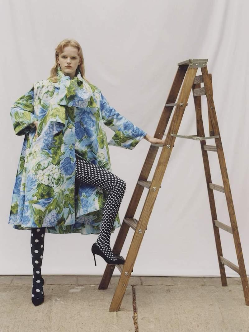 Richard Quinn Oversized Floral-Print Duchesse-Satin Coat