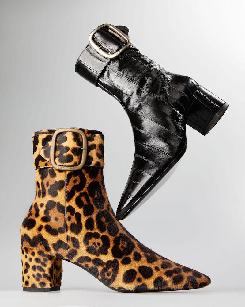 Saint Laurent Joplin Leopard-Print Fur Booties