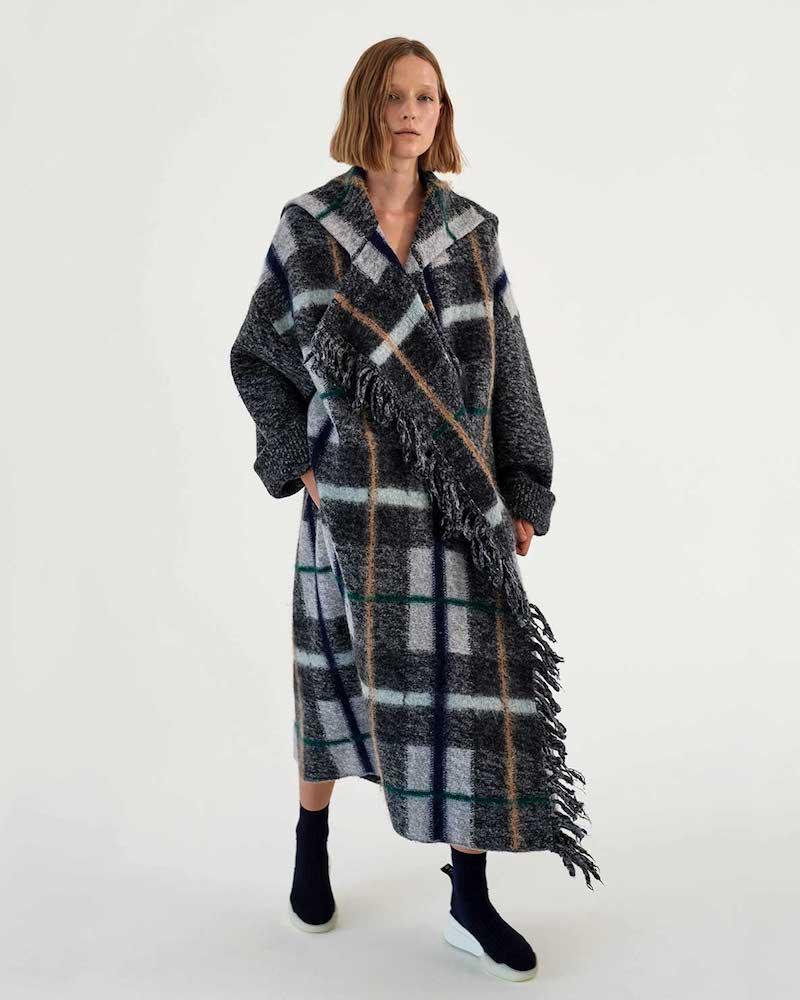 Stella McCartney Fringed Checked Wool Coat
