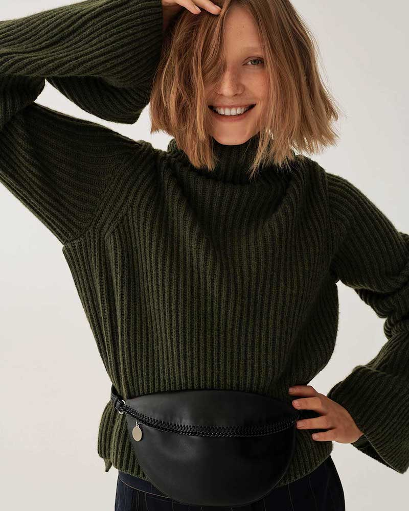 Stella McCartney Ribbed-Knit High-Neck Sweater