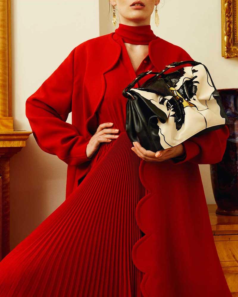 Valentino Bloom Leather Shoulder Bag