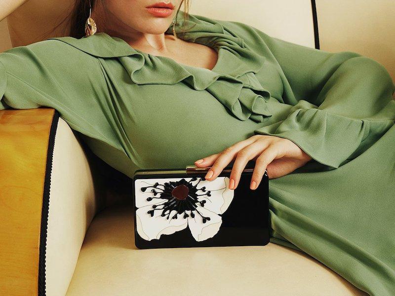 Valentino Flower-Embellished Plexiglass Minaudiere Clutch