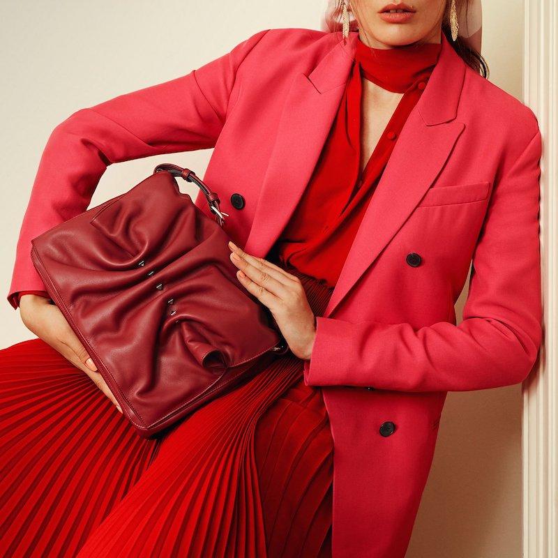Valentino Rockstud Gathered Leather Shoulder Bag