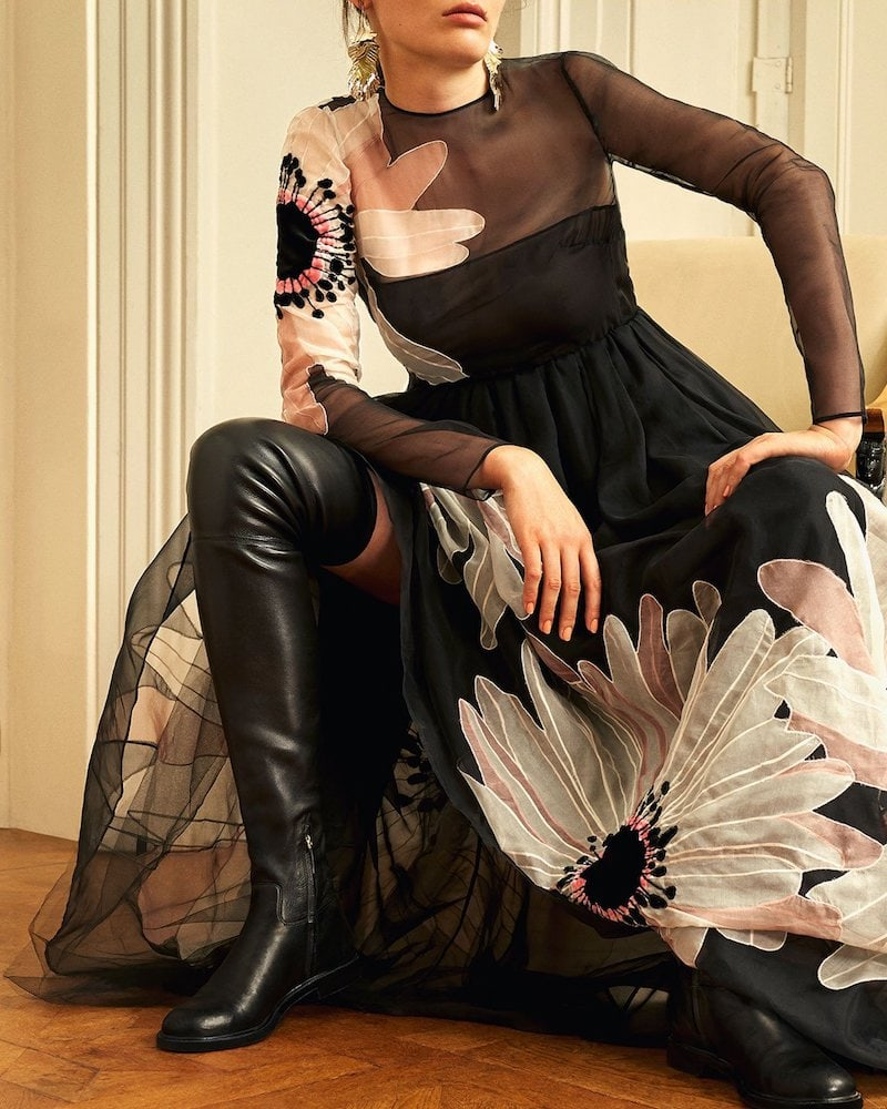 Valentino Shadows Stretch-Leather Knee-High Boot