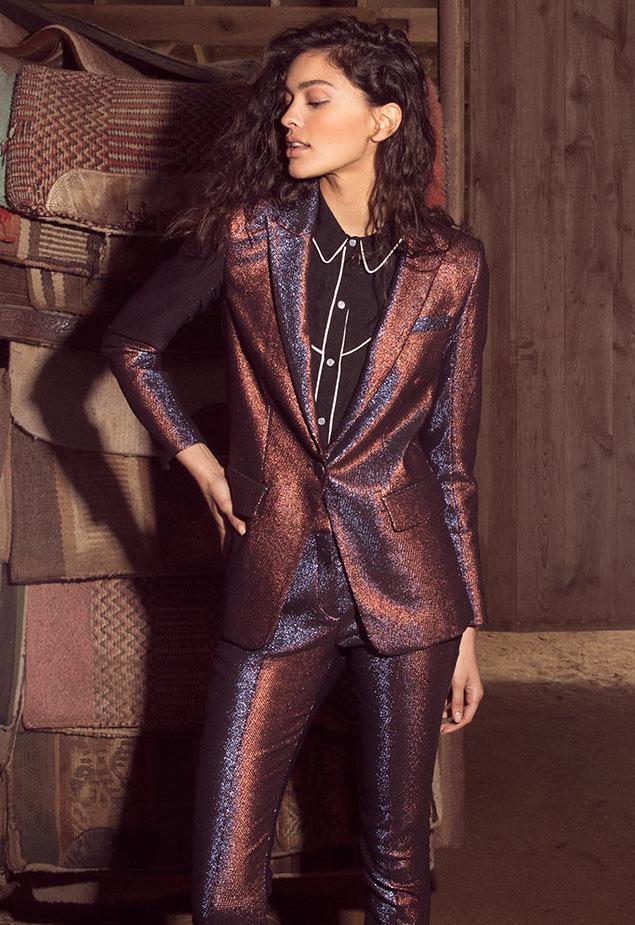 Veronica Beard Ashburn Metallic Single-Button Blazer