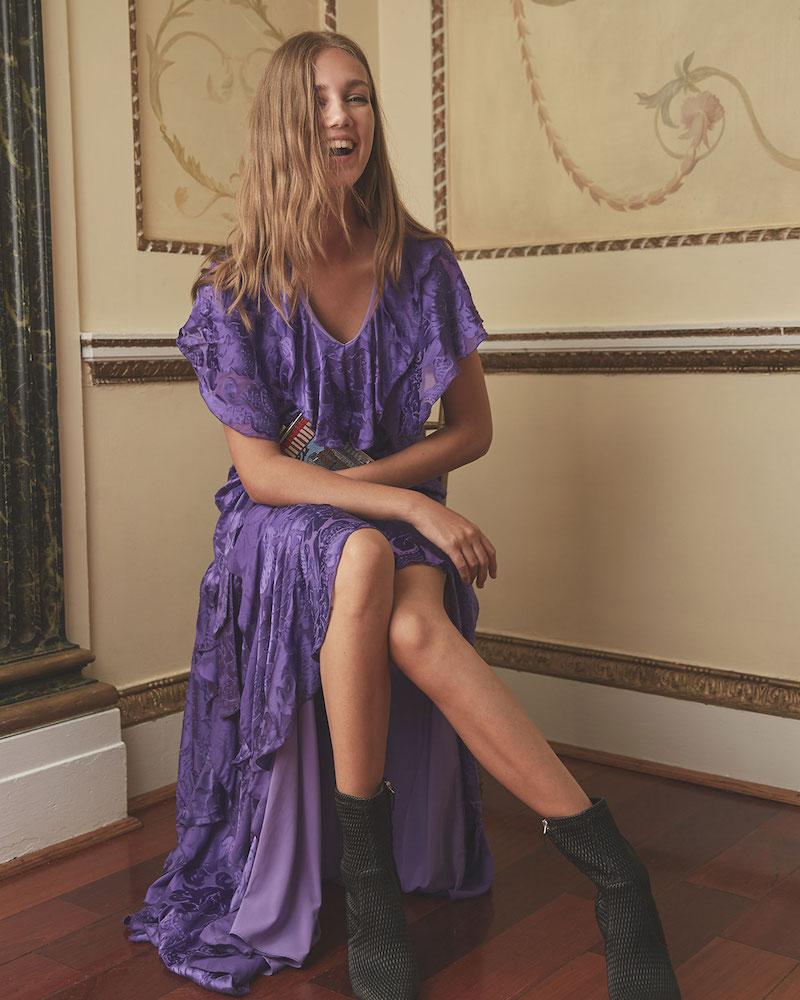 alice + olivia Tessa Ruffle Godet Dress