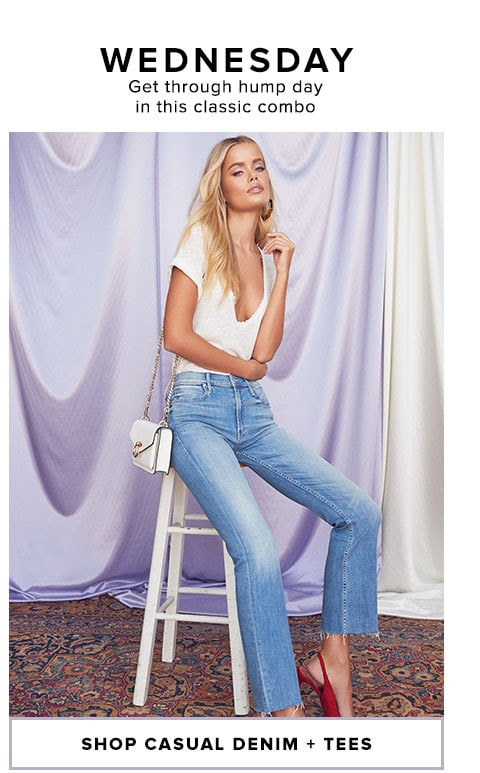 WEDNESDAY - Get through hump day in this classic combo  - Shop Denim + Tees