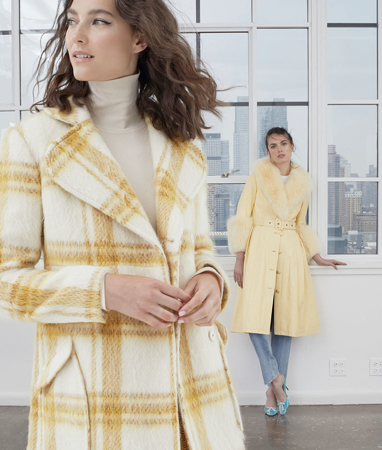 ALEXACHUNG Plaid Belted Wool-Blend Coat