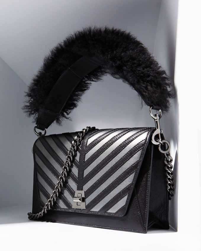 Akris Anouk Small City Oversize Herringbone Shoulder Bag With Fur Strap