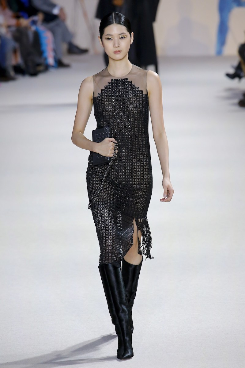 Akris Halter-Illusion Sleeveless Metal-Stud Embroidered Dress with Carwash Sides