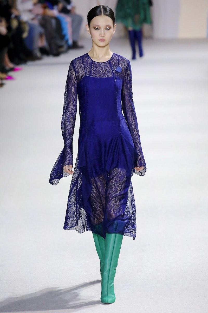Akris Long-Sleeve Round-Neck Draped Lace Dress with Panel Slits