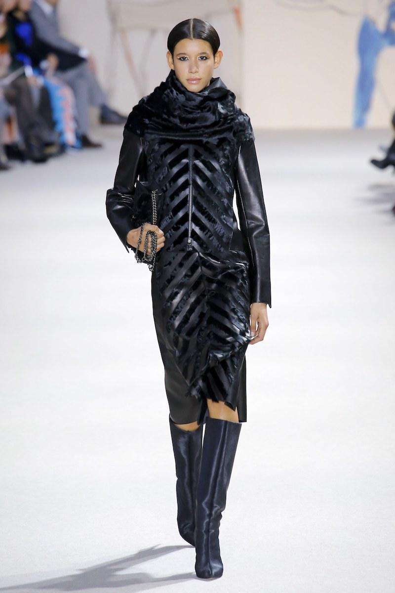 Akris Rosalie Chevron Zip-Front Leather Short Jacket