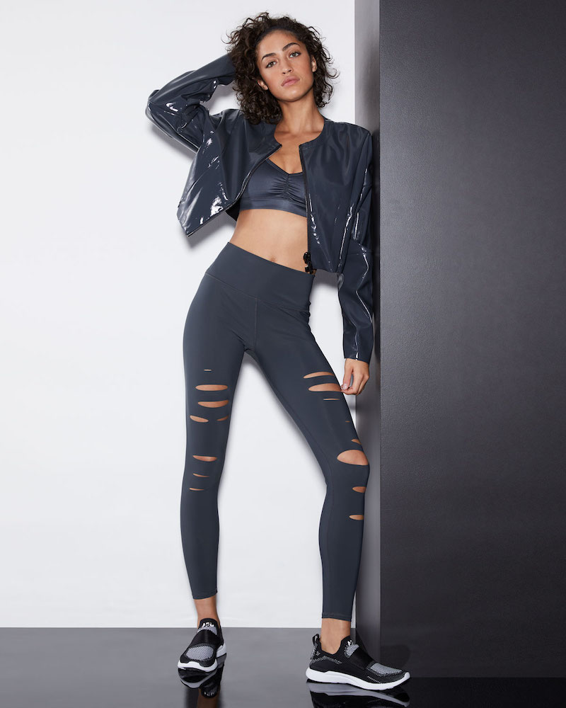 Alo Yoga Liquid Cropped Shiny Zip-Front Jacket