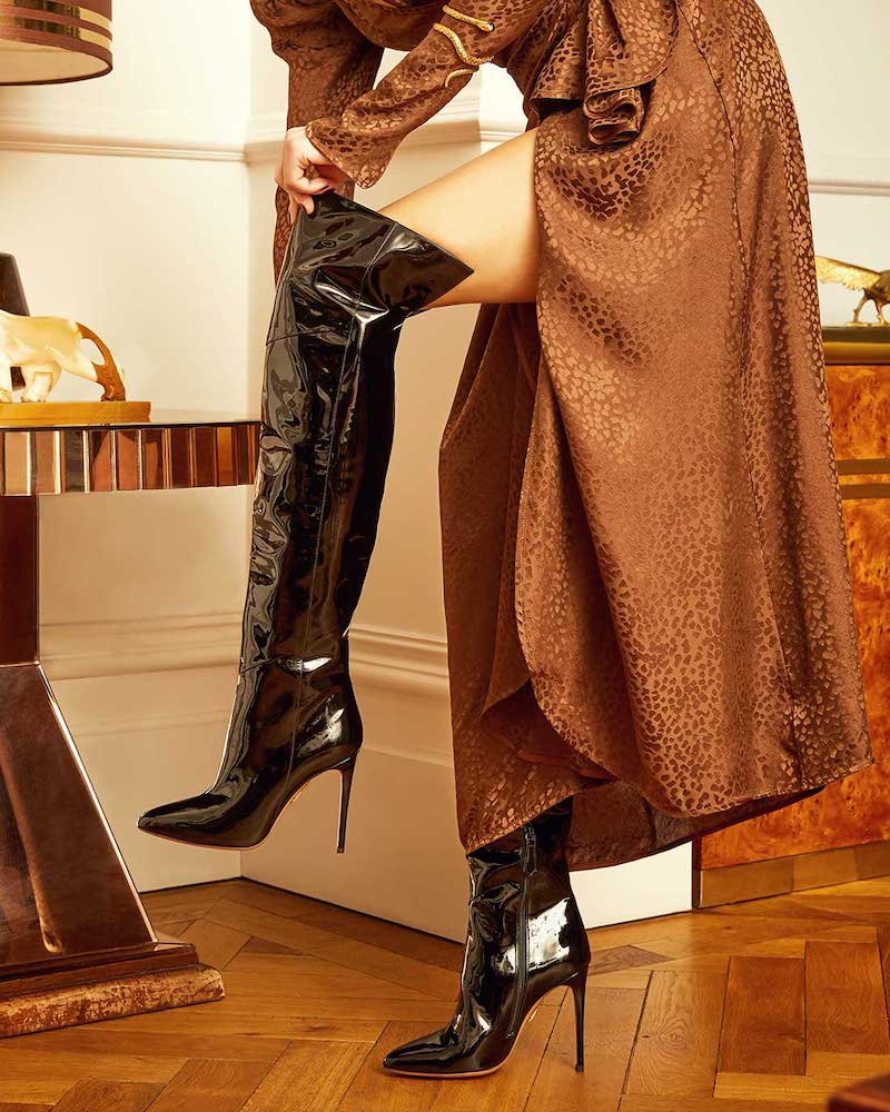Aquazzura Alma 105 Patent-Leather Over-the-Knee Boots