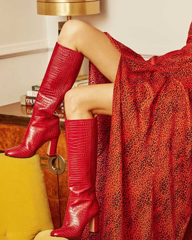 Aquazzura Brera Crocodile-Effect Leather Knee-High Boots