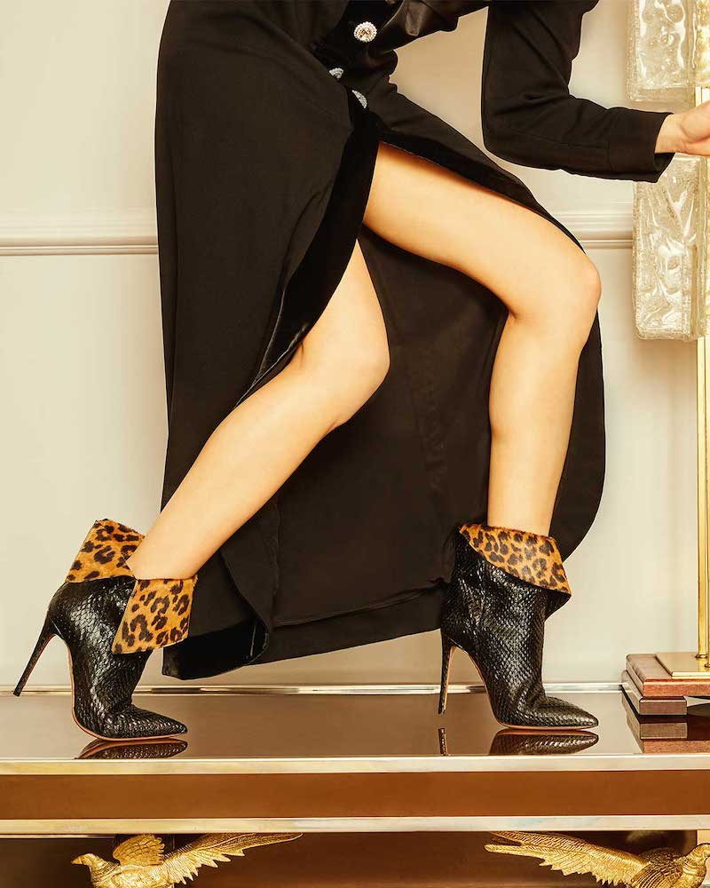 Aquazzura Night Fever Leopard Print-Trimmed Snake Boots