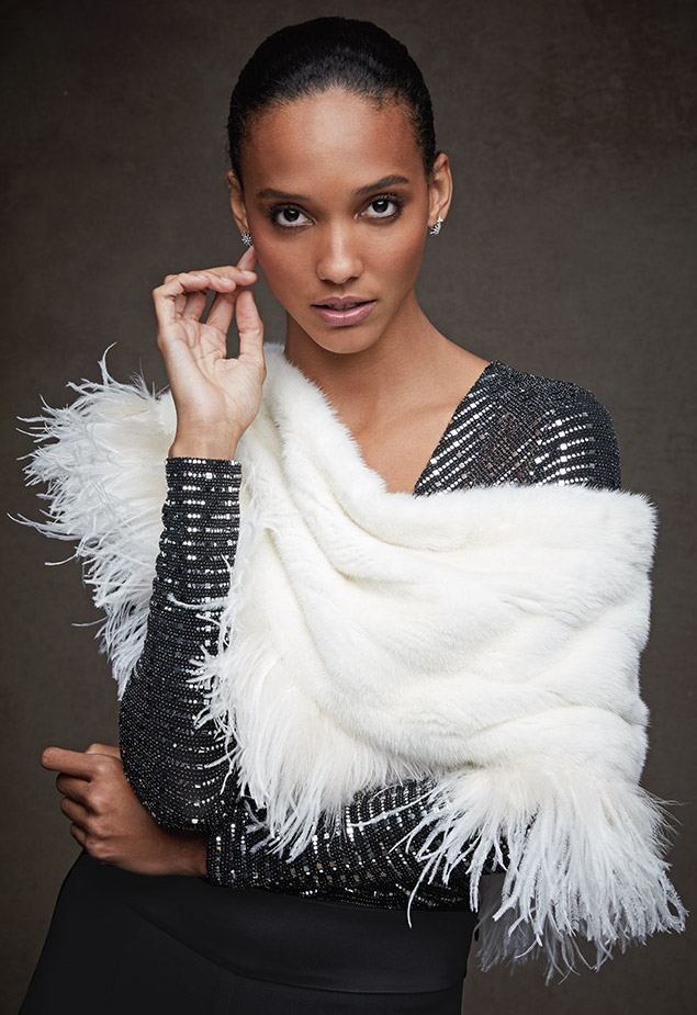 Carolyn Rowan Mink-Fur Cape with Ostrich Feathers