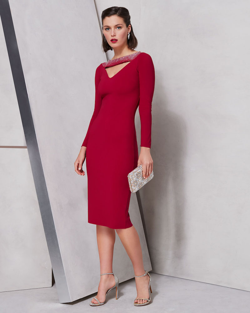 Chiara Boni La Petite Robe Cayetana V-Neck Cutout & Embellished Dress
