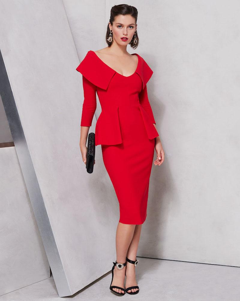 Chiara Boni La Petite Robe Hande Collared Peplum Dress