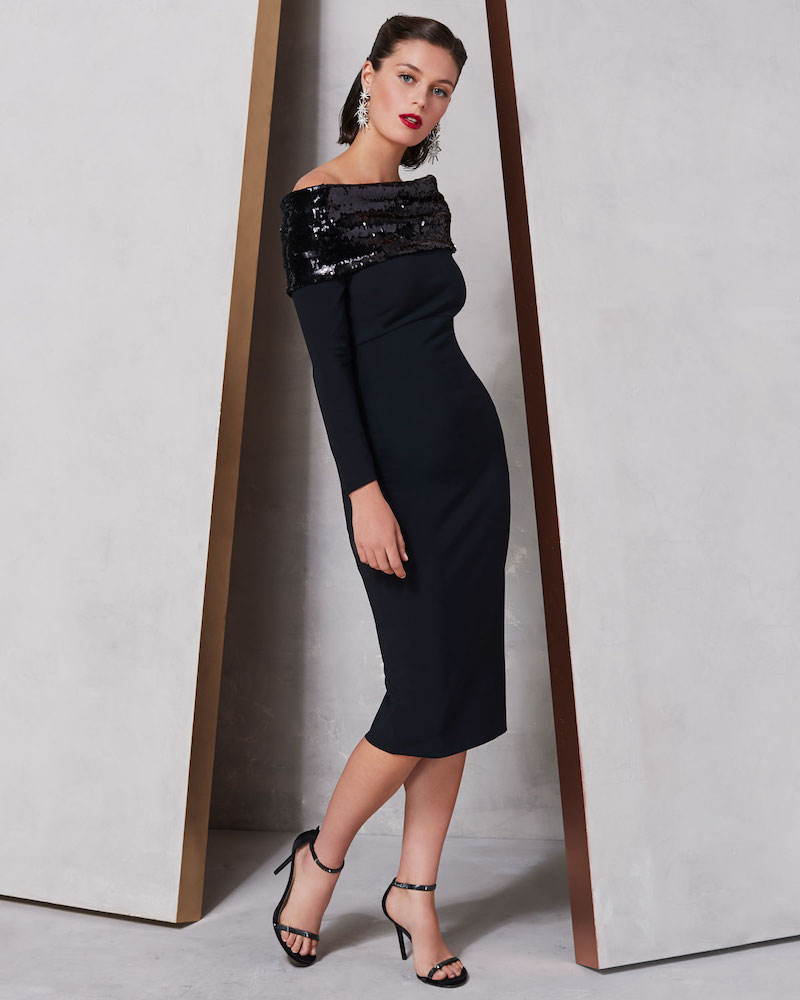 Chiara Boni La Petite Robe Lipikette Sparkle Off-the-Shoulder Dress