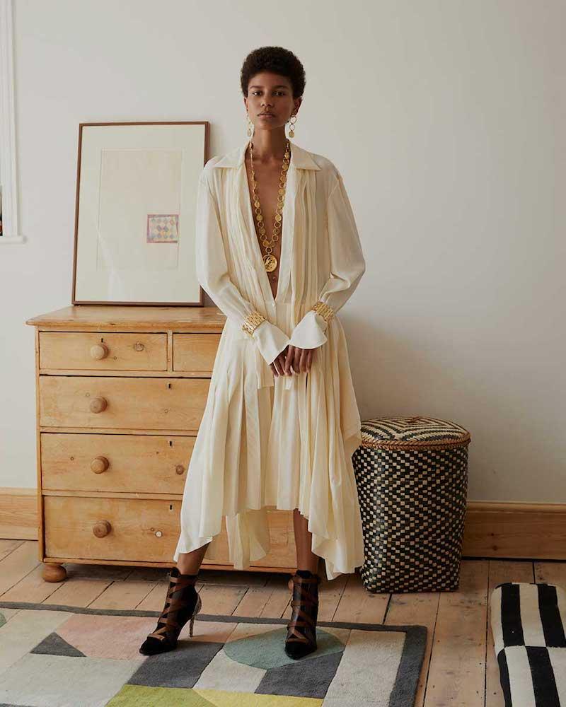 Chloé Draped Silk Crepe De Chine Midi Dress