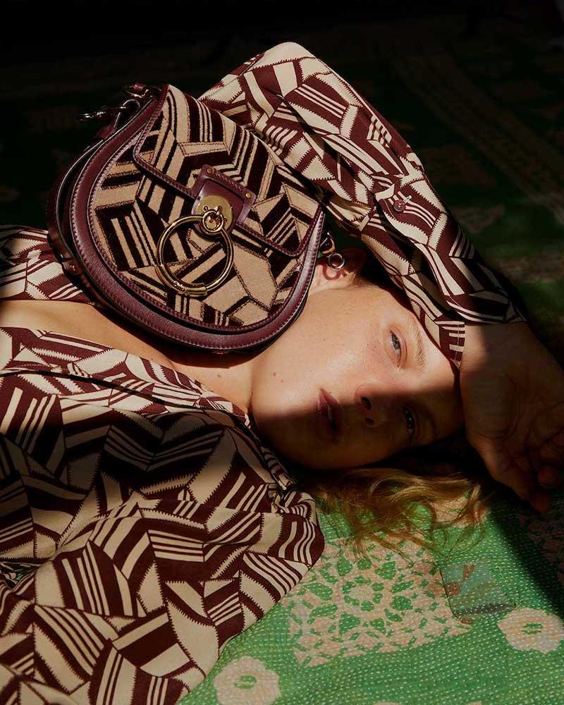 Chloé Tess Printed Velvet and Leather Shoulder Bag