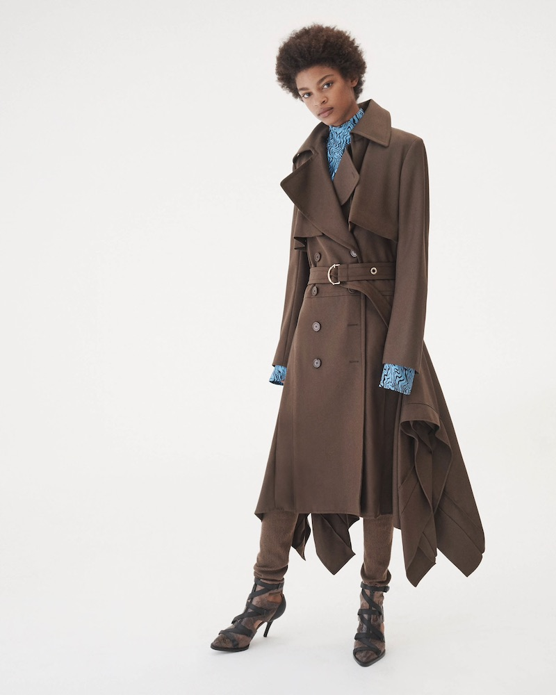 Chloé Virgin Wool Twill Asymmetric Trench Coat