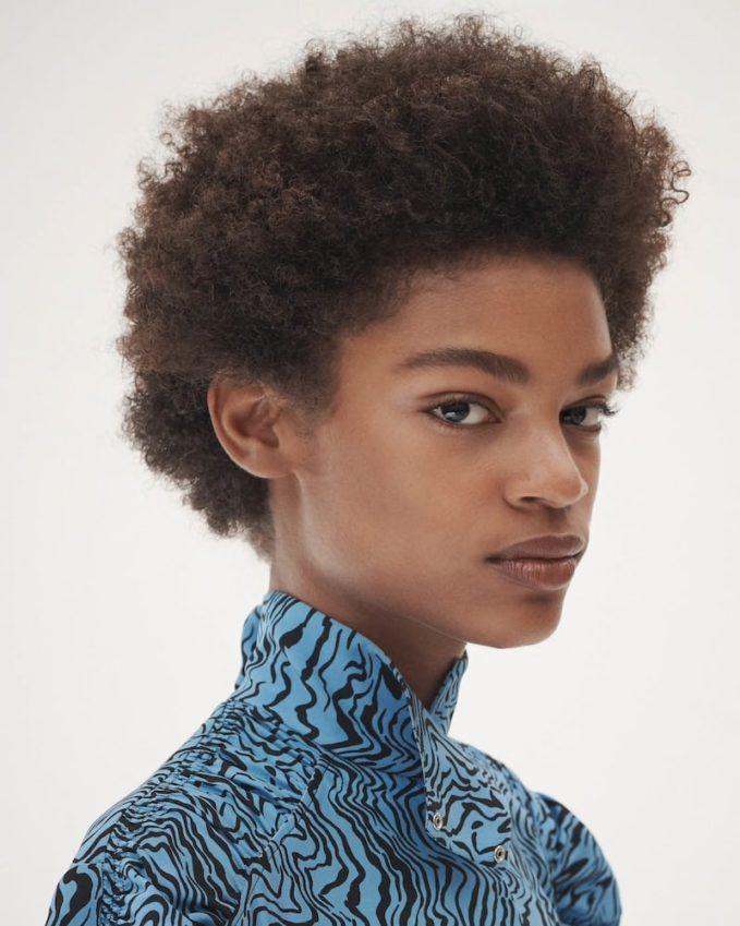 Chloé Wave-Print Silk Cutout-Front Blouse