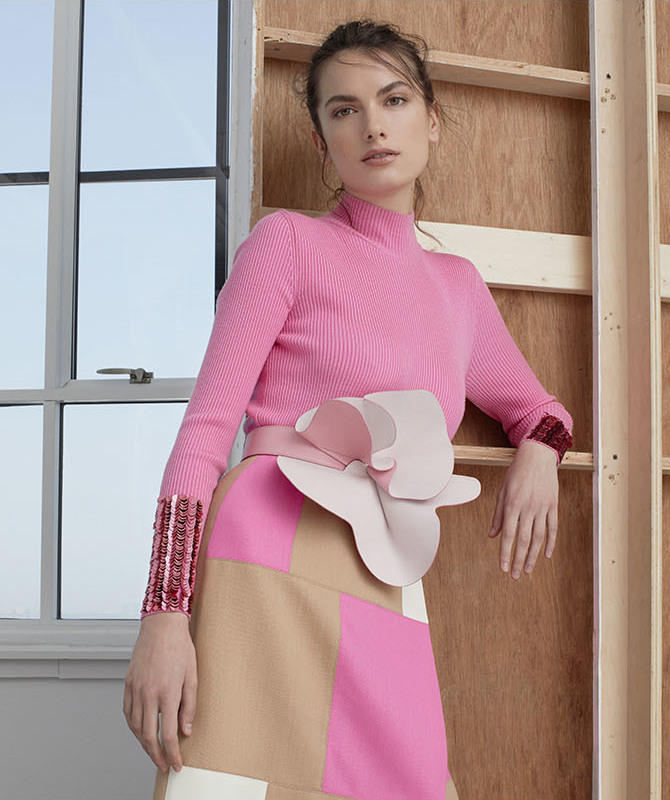 DELPOZO Embellished Merino Wool Mock Neck Sweater
