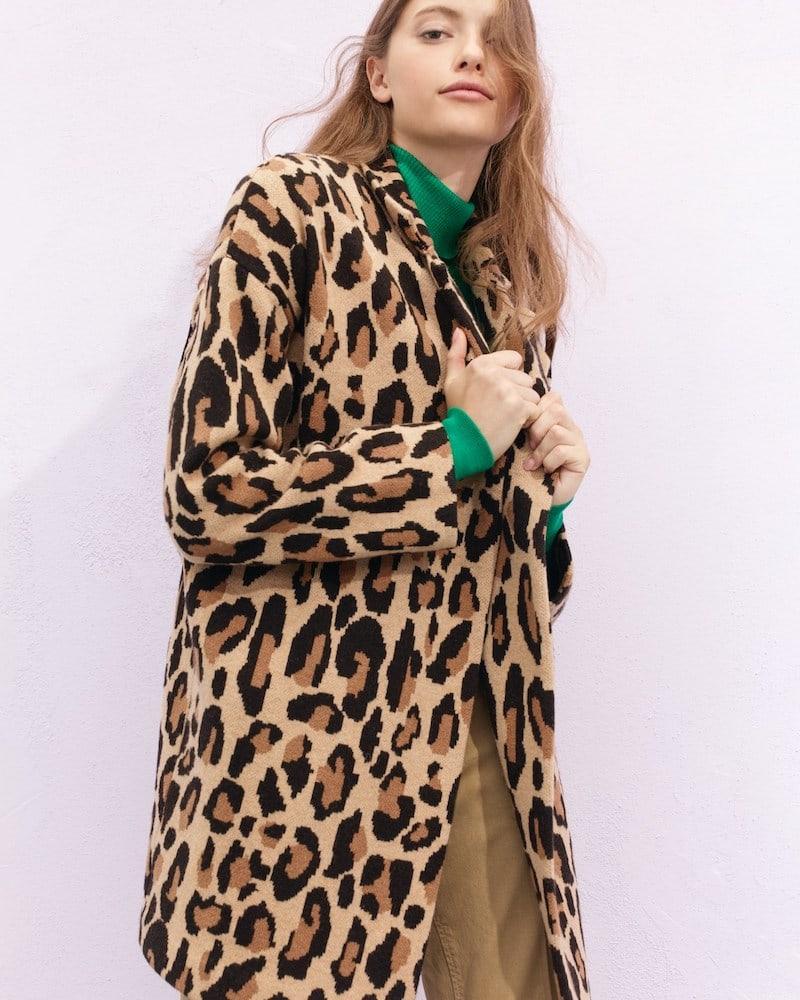 Demylee x J.Crew Open-Front Sweater-Blazer In Leopard Print